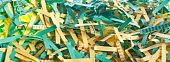 Green And Yellow Shredded Paper