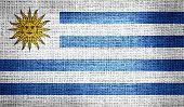 Uruguay flag on burlap fabric