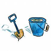watercolor bucket shovel blue cartoon figure, isolated on white background