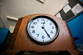 stock photo of firehouse  - A stopped clock table in abandoned firehouse - JPG