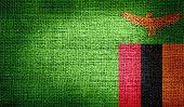 Zambia flag on burlap fabric