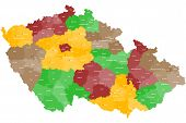 picture of political map  - A large and detailed map of Czech Republic with all areas - JPG