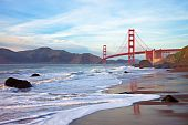 stock photo of golden gate bridge  - Golden Gate bridge at sunset seen from Marshall Beach San Francisco - JPG