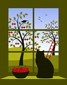 Cherry Orchard Outside Window