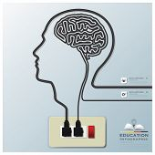 Head And Brain Shape Electricline Education Infographic Background