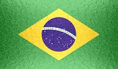 Brazil flag on metallic metal texture