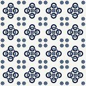 Blue Seamless Pattern. Design For Dutch Tile, Textile, Cloth, Fabric, Tissue