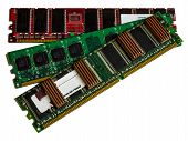 Some modules DDR RAM memory computer on white background.