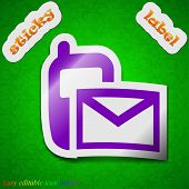 Mail , Sms Icon Sign. Symbol Chic Colored Sticky Label On Green Background. Vector