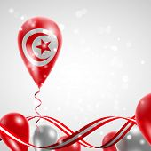 Flag of Tunisia on balloon