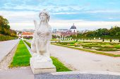 Statue At Belvedere Palace In Vienna, Austria In The Morning