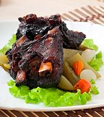 foto of pickled vegetables  - Baked beef ribs in honey soy marinade with pickled vegetables - JPG