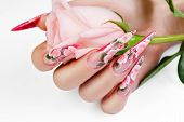 stock photo of nail-design  - Acrylic  flowers design of women - JPG