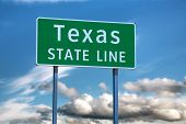picture of texas state flag  - Texas state line sign at the state border - JPG