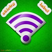Wi-fi Icon Sign. Symbol Chic Colored Sticky Label On Green Background. Vector