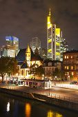 stock photo of frankfurt am main  - Frankfurt am Maine Germany cityscape at night - JPG
