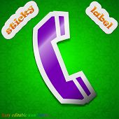 Phone Icon Sign. Symbol Chic Colored Sticky Label On Green Background. Vector