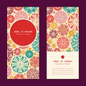 Vector abstract decorative circles vertical round frame pattern invitation greeting cards set