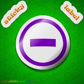 Minus Icon Sign. Symbol Chic Colored Sticky Label On Green Background. Vector