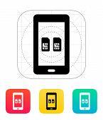 Dual SIM mobile phone icon.