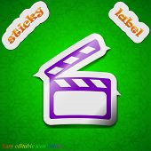 Cinema Clapper Icon Sign. Symbol Chic Colored Sticky Label On Green Background. Vector