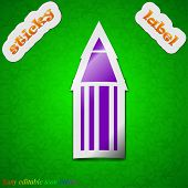 Pencil Icon Sign. Symbol Chic Colored Sticky Label On Green Background. Vector