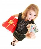Woman With Gift Box And Euro Currency Money Banknotes.