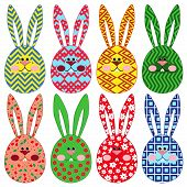Eight Easter Rabbit Ornamental Faces