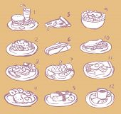 Raster International Food Sketch Icon Collection Set
