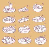 Raster International Food Sketch Icon Collection Set
