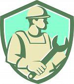 Construction Worker Spanner Shield Cartoon