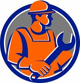 Construction Worker Spanner Circle Cartoon