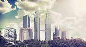 Retro Vintage Filtered Picture Of Kuala Lumpur Skyline.
