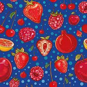 Red Vector Pattern With Fruits And Berries