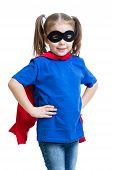 cute child kid girl plays superhero