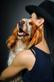 Russian Spaniel in the embrace of a young woman
