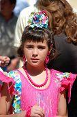 Spanish girl in flamenco dress.