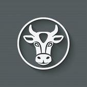 stock photo of cow head  - cow head symbol  - JPG