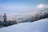 Ski Slope And Winter Mountains Panorama