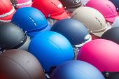 Color motorcycle helmets background