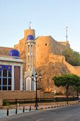pic of masjid  - Late afternoon at the Masjid Al Khor Mosque and the Al Mirani Fort in the old town of Muscat the capital of the Sultanate of Oman - JPG