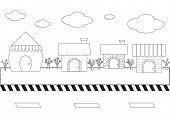 Linear Cute Cartoon Homes On Street