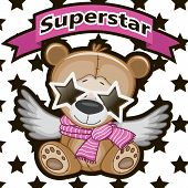 foto of pop star  - Teddy Bear with star glassesa on the background of stars - JPG