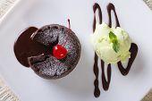 Fondant With Mint Ice Cream Closeup. Horizontal Top View
