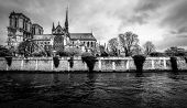 Paris Cityscape In Black And White. Notre Dame Gothic Cathedral