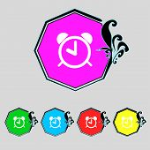Alarm Clock Sign Icon. Wake Up Alarm Symbol. Set Colourful Buttons. Vector