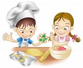 stock photo of chefs hat  - An illustration of two children having fun in the kitchen - JPG