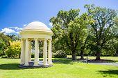 stock photo of cbd  - Fitzroy Gardens near Melbourne CBD on a hot summer - JPG