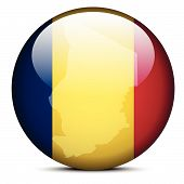 Map On Flag Button Of Republic Of Chad