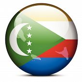 Map On Flag Button Of Union Of The Comoros